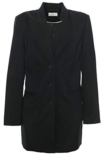 Sheego Blazer Longblazer Gehrock Jacke Damen Viskose Plusgröße Übergröße, Farbe:schwarz, Damengrößen:40
