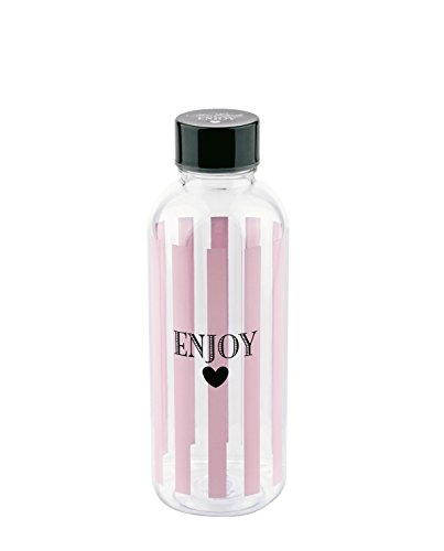 Miss Etoile–Water Bottle–Botella de Agua–Enjoy Rayas–Rosa–Altura 20,5cm