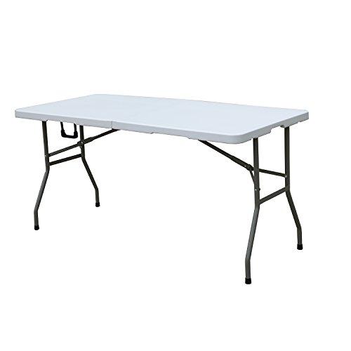 DlandHome in hoogte verstelbaar inklapbare campingtafel BBQ biertafel tuintafel markttafel vouwtafel balkontafel van kunststof 180 * 74 * 74 CM wit