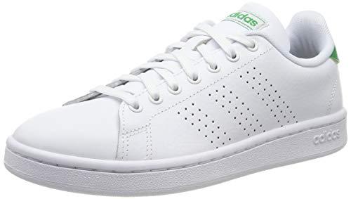 adidas Mens Advantage Sneaker, Footwear White/Footwear White/Green, 44 EU
