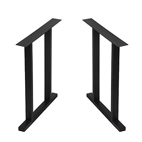Metal Table Legs Cast Iron Dining Table Legs 28¡± Height 24¡± Wide, Industrial Bench Legs Black Desk Legs,Rustic Heavy Duty DIY Furniture Legs,Square Tube Coffee Table Legs 2 PCS