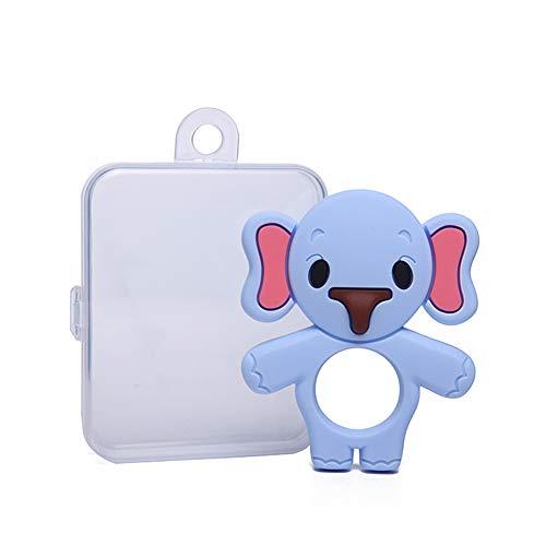 XuBa Beißringe für Babys Silikon-Greiflinge für Jungen, leicht zu halten, weich, biegsam, hochwirksamer Beißring für Elefanten, am besten für Gefriergeräte geeignet Blaue Gürtelschachtel