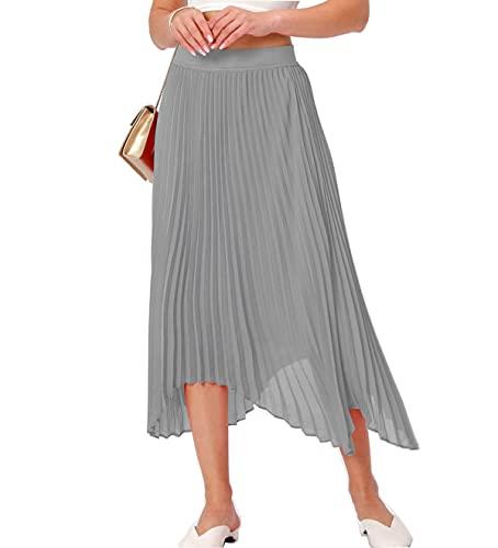 Womens midi Pleated Skirt,High Waist Swing Boho Pleated Skirt Casual Chiffon Elastic A-line Long Skirts (Gray, Medium)