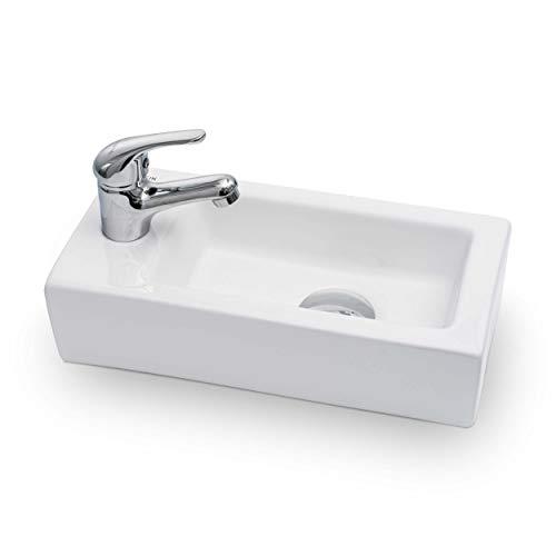 Vilstein Mini-Waschbecken, Gäste WC, Hänge- oder Aufsatzwaschbecken, Keramik, klein, 36,5cm x 18cm x 9cm, Hahnloch Links