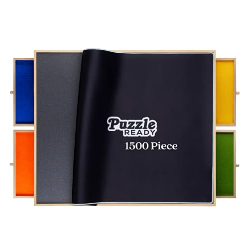 Portable Puzzle Board & Storage Table - Quality Jigsaw Puzzle Board, Lightweight, Easy to Store, 4 Color Sliding Drawers, Plus Puzzle Mat, Fun at Your Fingertips, Great Gift, FITS 1500 Piece Puzzles!