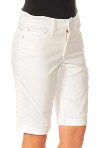 NYDJ Women's Briella Roll Cuff Jean Short in Colored Bull Denim, Optic White, 10