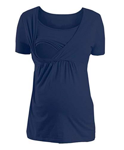Zomer dames multifunctionele modieuze bovenstuk, eenkleurig, borstvoeding, klassieke thee overhemden, vrije tijd, locker, ronde hals, korte mouwen, tops, t-shirt, blouse, kleding