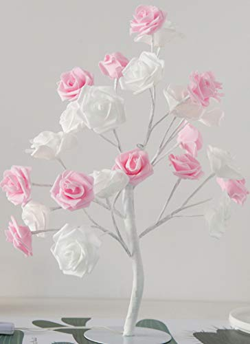 LEISONT - Dormitorio habitación de la lámpara de la mesa decorada lámpara led pequeña lámpara de color cumpleaños regalo pequeña lámpara de árbol 3W Rosas rosas con lámparas eléctricas