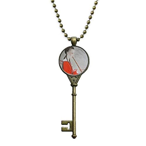 DIYthinker Red Beauty Flute Chinese Painting Key Necklace Pendant Tray Embellished Chain