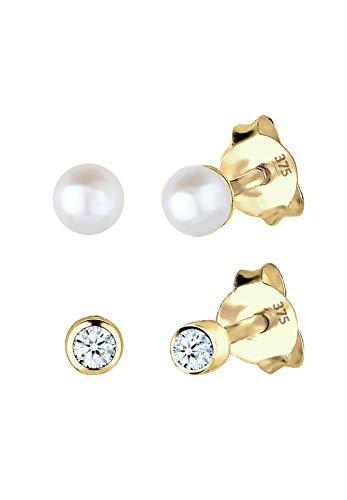 Elli PREMIUM Damen-Pendientes clásico juego de conectores 375 oro crotalo (0,06 ct) corte brillante agua dulce-perla cultivada blanco - 0309660214