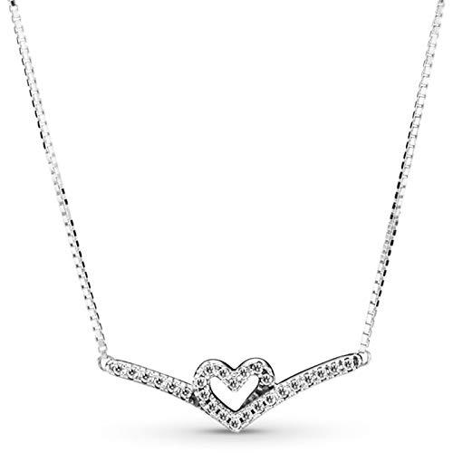 Brillante corazón Wishbone abovedado collar de corazón para 925 Sterling Silver Bead Charm Pulsera Joyería de moda2