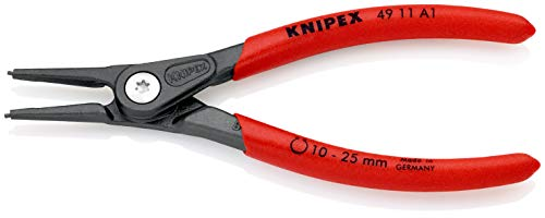 KNIPEX 49 11 A1 Präzisions-Sicherungsringzange für Außenringe auf Wellen grau atramentiert mit rutschhemmendem Kunststoff überzogen 140 mm