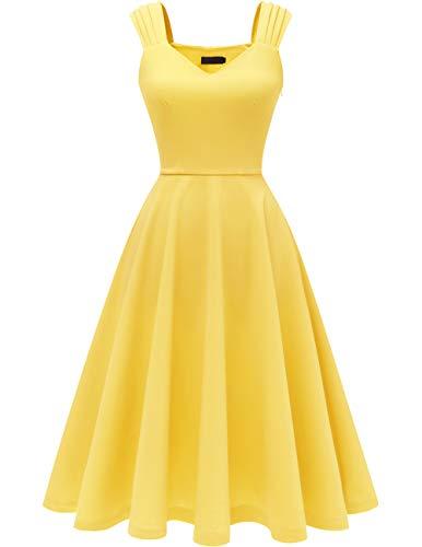 DRESSTELLS Damen 1950er Midi Rockabilly Kleid Vintage V-Ausschnitt Hochzeit Cocktailkleid Faltenrock Yellow 2XL