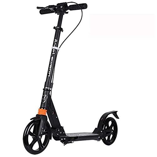 ZHZHUANG Portátil Vespa Scooter Freestyle Adulto Adolescente Niños Ajustable Altura Easy Plegable Portátil Portátil, Ropa Rápida Scooter de Aluminio No-Eléctrico Classic Scooter,Negro
