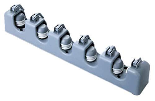 Mop Rack-PP Soporte de la escoba de plástico multifuncional Montado en la pared Mop Rack de almacenamiento 5 Slots 6 ganchos Jardín, Herramientas de jardín Herramientas Organizador (gris)