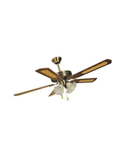 Ventilatore Agitatore da soffitto 5 Pale 4 Luci Tulipano Ottone Predisposizione Telecomando