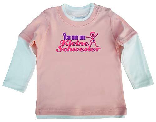 Dirty Fingers Dirty Fingers, Ich bin die kleine Schwester, Baby Skater Top langärmlig, 6-12m, Rosa-Wei?