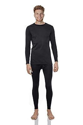 Rocky Thermal Underwear for Men Lightweight Cotton Knit Thermals Men's Base Layer Long John Set (Black - Lightweight (Cotton) - Large)