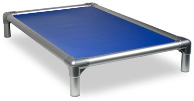 Kuranda All-Aluminum (Silver) Chewproof Dog Bed - Medium (35x23) - 40 oz. Vinyl - Royal Blue