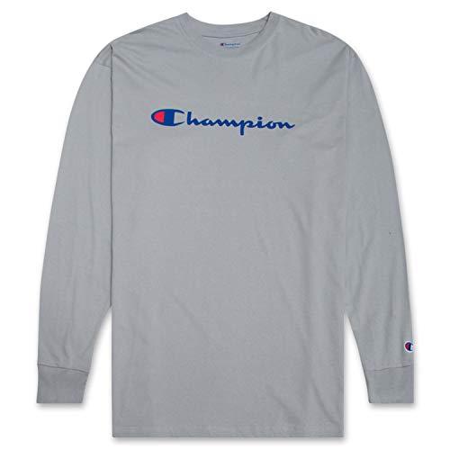 Champion Men's Big and Tall Classic Jersey Long Sleeve Script T-Shirt Champion Concrete 3XLT