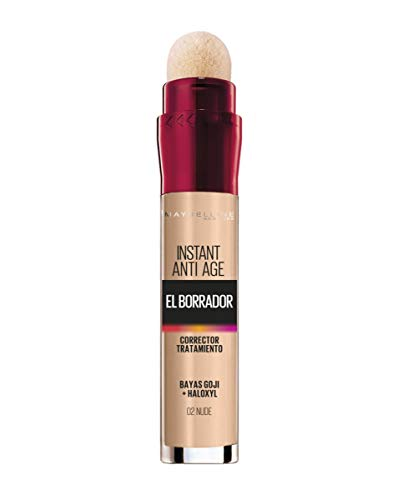 Maybelline New York, Corrector de Ojeras, Bolsas e Imperfecciones, Borrador Ojos, 02 Nude, 6.8 ml