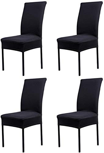 HMwish Stuhlhussen 4er Set - Stretch Stuhlbezug - bi-Elastische Spannbezug (Schwarz)