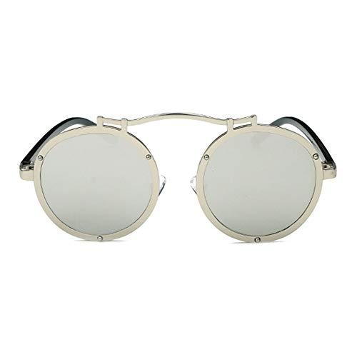 XFSE Gafas de sol clásicas de moda redonda marco grande deportes al aire libre gafas de sol protección UV400 unisex (color: plata)