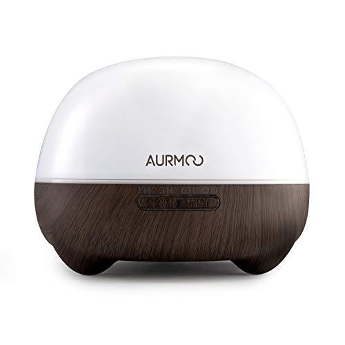 550ml Aroma Diffuser, AURMOO Luftbefeuchter Ultraschall Vernebler Raumbefeuchter Elektrisch Duftlampe ätherische Öle Diffusor mit 7 wechselnden Farben und Wasserless automatischer Abschaltung.