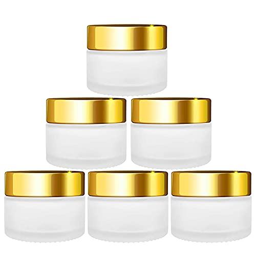 6 Piezas Tarro de Cristal Vacío Tarros de Viaje Envases de Cosméticos Vacías Tarro de Crema de 30 ml con Tapón de Rosca Dorado para Cosmética Crema Muestra Polvo Decoración Uñas