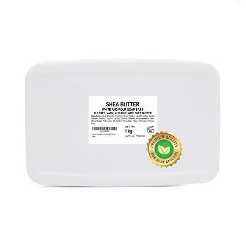 Essencetics Sheabutter Rohseife Seifenbasis Melt and Pour Seifenbasis Rohseife SLS Frei Seifenblock zum Seifengießen opak weiß Shea Butter Soap Base 1kg