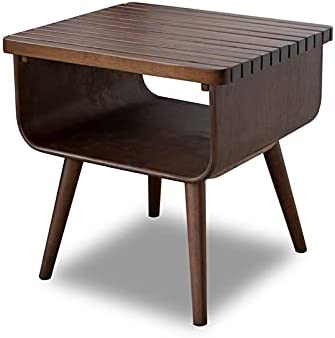 ASHCROFT Safety and trust Mid-Century Modern Brown Walnut Table Fresno Mall End Wood Connor