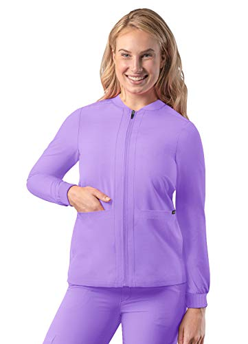 Adar Addition Scrubs for Women - Zippered Bomber Scrub Jacket - A6200 - Lavender - S