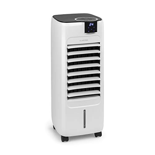 Klarstein Sonnendeck - 3-in-1 Luftkühler, Ventilator Luftkühler Luftbefeuchter, 45 Watt, Luftstrom: bis zu 888 m³/h, 3 Windgeschwindigkeiten, 2 Windarten: Normal- und Schlafmodus, weiß