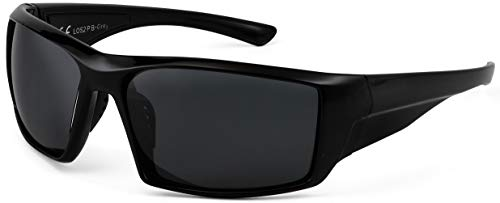 La Optica B.L.M. UV400 CAT 3 Unisex Damen Herren Sonnenbrille Sportbrille Fahrradbrille Angeln - Schwarz (Gläser: POLARISIERT Grau)