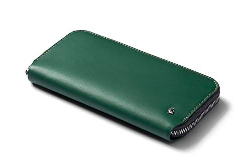 Bellroy Folio (Premium Leather Coin Purse, Zipper Closure, RFID Protection, Holds 10-14 Cards, Flat Note Section, Magnetic Coin Pouch) - Racing Green