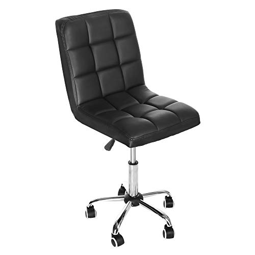 US Fast Shipment Quaanti Ergonomic Mid Back Office Desk Chair Home Armless Chair Modern PU Leather Adjustable Swivel Computer Desk Task Chair,Height Adjustable,360-degree Swivel Chair (Black)