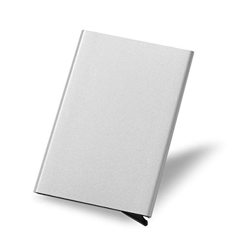 Business Card Case RFID Blocking Holder Credit Card ID Case/Holder for Men & Women-Aluminum alloy Quick Card Access Business Card Holder (silver)