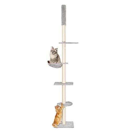 Kratzbaum Kratzbaum Groß XXL Katzen Kratzbaum Kletterbaum deckenhoch groß 240-260 cm Höhe 8 cm Dicke Sisal Säulen (Grau)