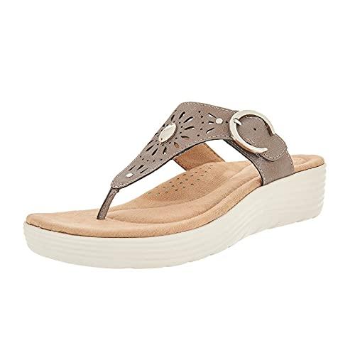 Frauen Open Toe Wedge Silp Sandalen Tanga Sling Bestickte orthopädische Soft Sole Stretch Sommer Flip Flops