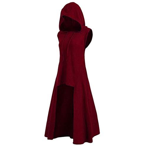 LOPILY Umhang Kleid mit Kapuze Vokuhila Cape Vampir Kostüm Halloween Erwachsener Damen Cosplay Umhang Prop für Halloween Masquerade Mittelalter Kleidung Karneval Kostüme (Weinrot, 38)