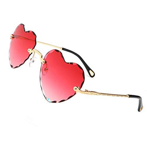 OGOBVCK Corazon en forma de gafas de sol de Moda Mujer Chica colorida degradado gafas lentes sin montura (Pink)