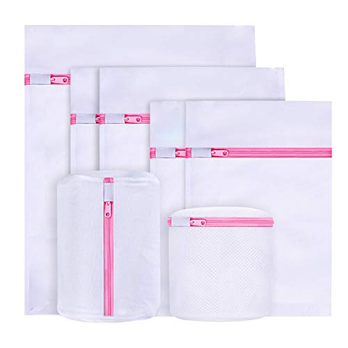 BoxLegend Bolsa de lavandería de Malla, Paquete de 6 Bolsas de Lavado con Cremallera para Lavadora, 5 tamaños Bolsas de Lavado de Red Reutilizable con Cremallera