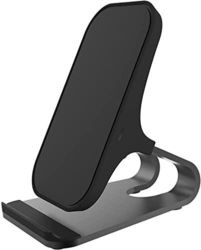 Qi Wireless Charger 15W Fireless Charger Stand Compatible con iPhone Tablet Estación de Carga rápida Titular de Cargador de teléfono Soporte móvil Negro