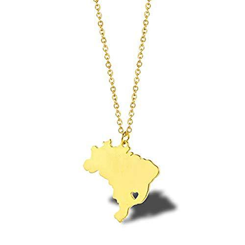 Ccyyy Halskette/Nationale topografische Karte Halskette/Damen Schlüsselbein Kette/Brasilien Karte Halskette/Titan Stahl Reisen Gedenkzubehör,Gold