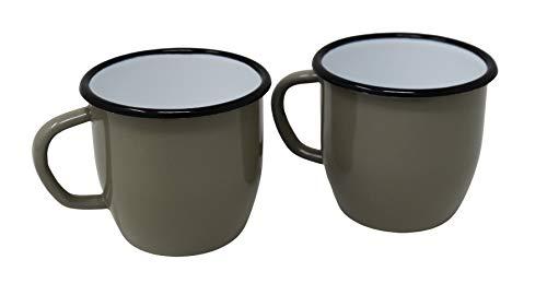 2 tazas de metal esmaltado cónico, color gris, 250 ml