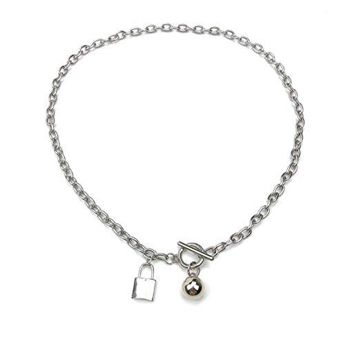 QAZQAZ Halskette Schloss Frauen Kette Damen Anhänger Mädchen Schmuck Silber Farbe Titan Stahlhalsbänder