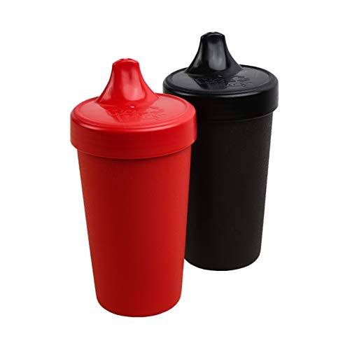 Re-Play 2pk - 10 oz. No Spill Sippy Cups with 1 Piece Silicone Easy Clean Valve, BPA Free Eco Friendly Heavyweight Recycled Milk Jugs are Virtually Indestructible (Red, Black)