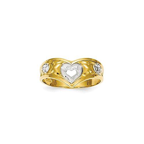 Anillo de oro amarillo de 14 quilates pulido y rodio en forma de V con corazón de amor, tamaño L 1/2 joyería regalos para mujeres