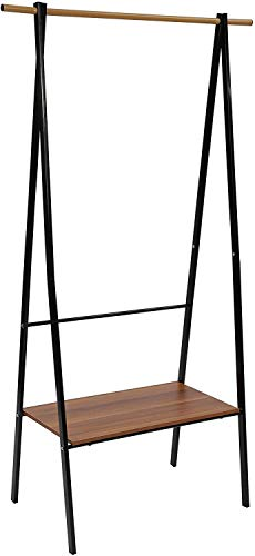 HOME BI Metal Garment Rack with Wood Shelf, Heavy Duty Clothes Rack Portable with Shelf 1-Tier Coat Clothing Organizer Storage for Hats Bags Shoe for Entryway Bedroom Dorm Pool (Black)
