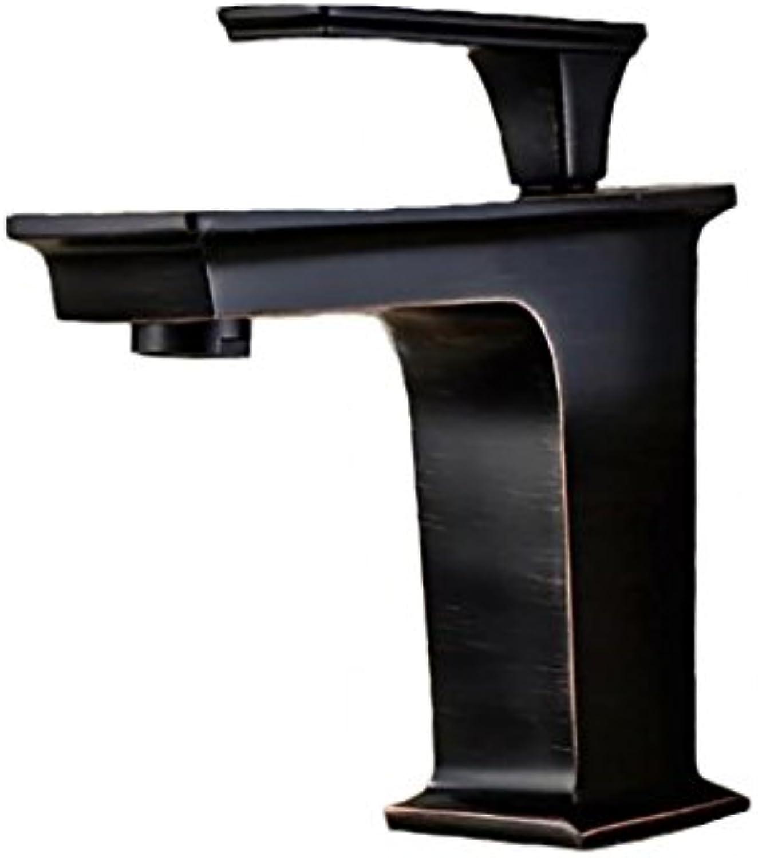 HAIYUANNAN Armaturen, Waschbecken Armaturen, warme und kalte Kupfer Antik schwarz